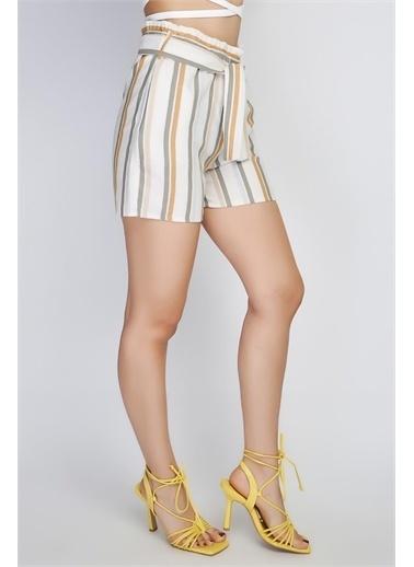 Rodi Jeans Kadın Orta Çizgili Lastik Bel Şort Rd21Yb141422 Gri